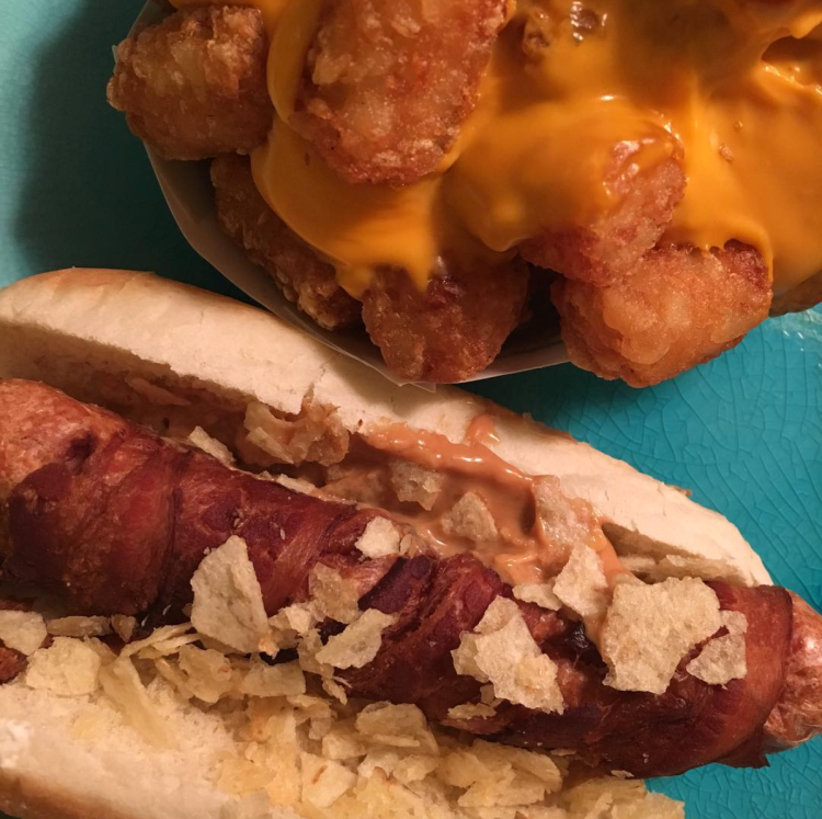 Lil Ma and cheesy tots from Crif Dogs